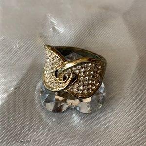 Gold tone interlocking crystal ring